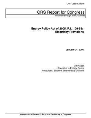 Primary view of object titled 'Energy Policy Act of 2005, P.L. 109-58: Electricity Provisions'.