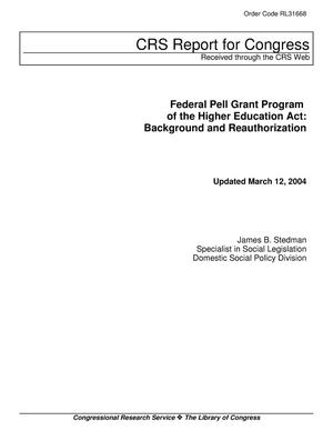 Primary view of object titled 'Federal Pell Grant Program of the Higher Education Act: Background and Reauthorization'.