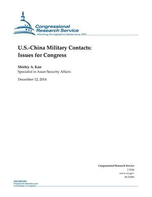 Primary view of object titled 'U.S.-China Military Contacts: Issues for Congress'.