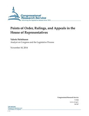 Primary view of object titled 'Points of Order, Rulings, and Appeals in the House of Representatives'.