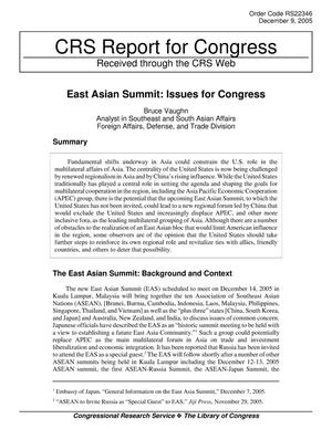 Primary view of object titled 'East Asian Summit: Issues for Congress'.