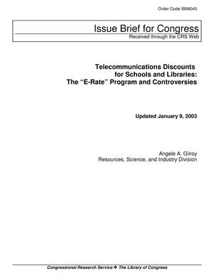 "Primary view of object titled 'Telecommunications Discounts for Schools and Libraries: The ""E-Rate"" Program and Controversies'."
