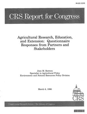 Primary view of object titled 'Agricultural Research, Education, and Extension : Questionnaire Responses from Partners and Stakeholders'.