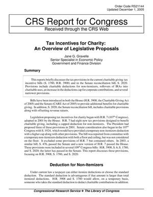 Primary view of object titled 'Tax Incentives for Charity: An Overview of Legislative Proposals'.