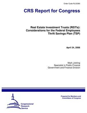 Primary view of object titled 'Real Estate Investment Trusts (REITs): Considerations for the Federal Employees Thrift Savings Plan (TSP)'.