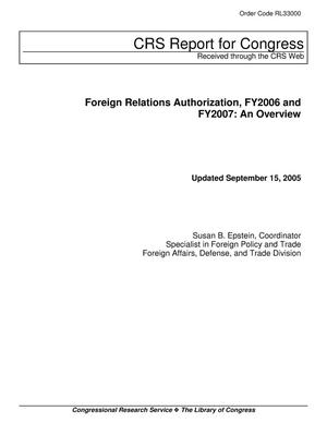 Primary view of object titled 'Foreign Relations Authorization, FY2006 and FY2007: An Overview'.