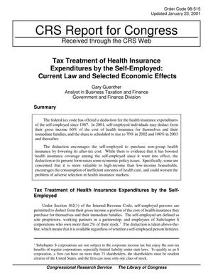 Primary view of object titled 'Tax Treatment of Health Insurance Expenditures by the Self-Employed: Current Law and Selected Economic Effects'.