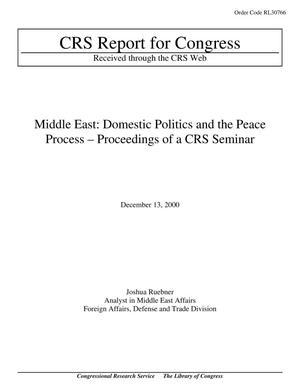 Primary view of object titled 'Middle East: Domestic Politics and the Peace Process – Proceedings of a CRS Seminar'.