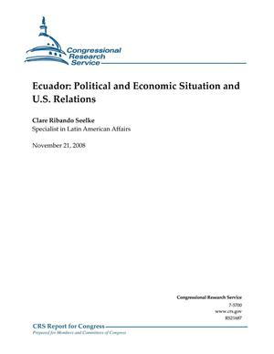 Primary view of object titled 'Ecuador: Political and Economic Situation and U.S. Relations'.