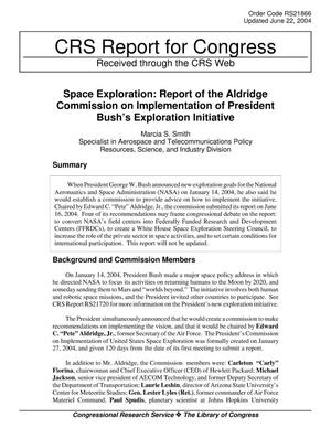 Primary view of object titled 'Space Exploration: Report of the Aldridge Commission on Implementation of President Bush's Exploration Initiative'.