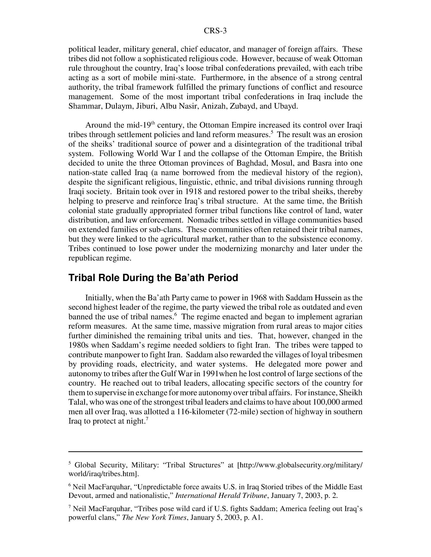 Iraq: Tribal Structure, Social, and Political Activities                                                                                                      [Sequence #]: 3 of 6