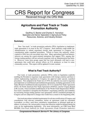 Primary view of object titled 'Agriculture and Fast Track or Trade Promotion Authority'.