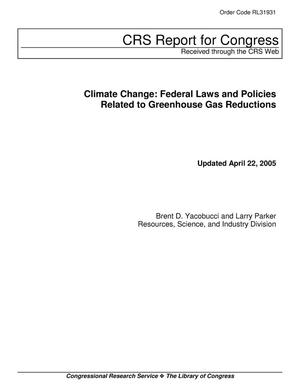 Primary view of object titled 'Climate Change: Federal Laws and Policies Related to Greenhouse Gas Reductions'.