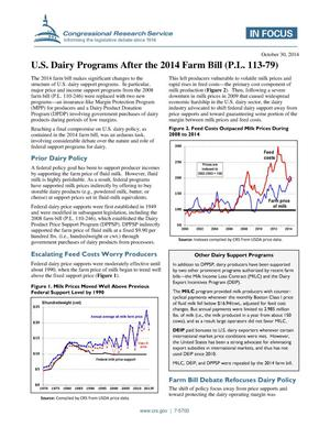 Primary view of object titled 'U.S. Dairy Programs After the 2014 Farm Bill (P.L. 113-79)'.