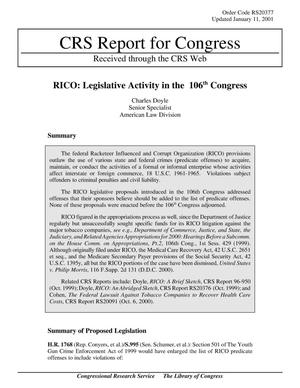 Primary view of object titled 'RICO: Legislative Activity in the 106th Congress'.