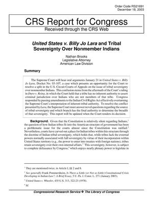 Primary view of object titled 'United States v. Billy Jo Lara and Tribal Sovereignty Over Nonmember Indians'.