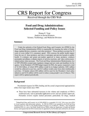 Primary view of object titled 'Food and Drug Administration: Selected Funding and Policy Issues'.