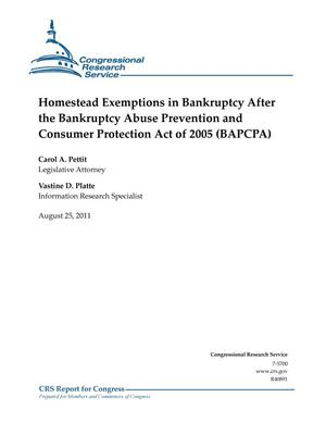 Primary view of object titled 'Homestead Exemptions in Bankruptcy After the Bankruptcy Abuse Prevention and Consumer Protection Act of 2005 (BAPCPA)'.