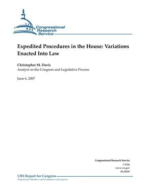 Primary view of object titled 'Expedited Procedures in the House: Variations Enacted into Law'.
