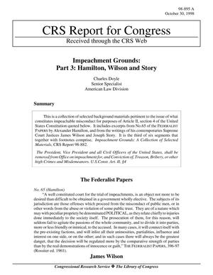 Primary view of object titled 'Impeachment Grounds: Part 3: Hamilton, Wilson and Story'.