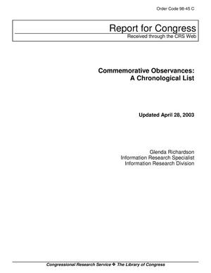 Primary view of object titled 'Commemorative Observances: A Chronological List'.