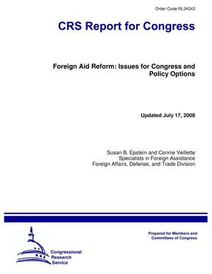 Primary view of object titled 'Foreign Aid Reform: Issues for Congress and Policy Options'.