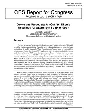 Primary view of object titled 'Ozone and Particulate Air Quality: Should Deadlines for Attainment Be Extended?'.