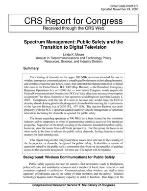 Primary view of object titled 'Spectrum Management: Public Safety and the Transition to Digital Television'.