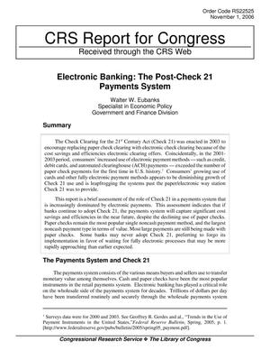 Primary view of object titled 'Electronic Banking: The Post-Check 21 Payments System'.