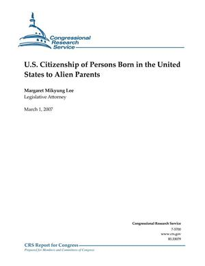 Primary view of object titled 'U.S. Citizenship of Persons Born in the United States to Alien Parents'.