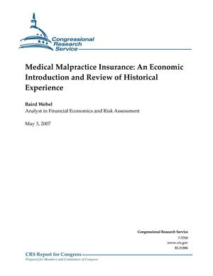 Primary view of object titled 'Medical Malpractice Insurance: An Economic Introduction and Review of Historical Experience'.