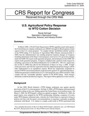 Primary view of object titled 'U.S. Agricultural Policy Response to WTO Cotton Decision'.