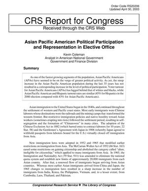 Primary view of object titled 'Asian Pacific American Political Participation and Representation in Elective Office'.