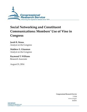 Primary view of object titled 'Social Networking and Constituent Communications: Members' Use of Vine in Congress'.