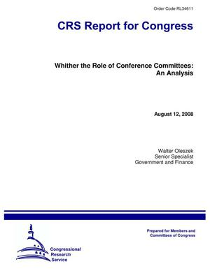 Primary view of object titled 'Whither the Role of Conference Committees: An Analysis'.