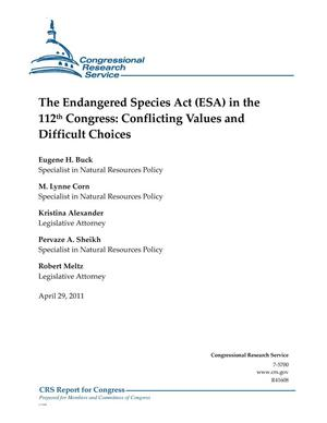 Primary view of object titled 'The Endangered Species Act (ESA) in the 112th Congress: Conflicting Values and Difficult Choices'.