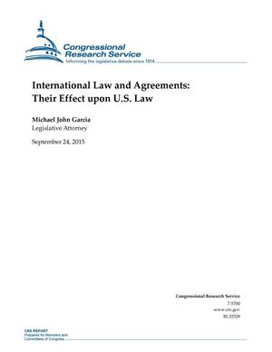 Primary view of object titled 'International Law and Agreements: Their Effect upon U.S. Law'.