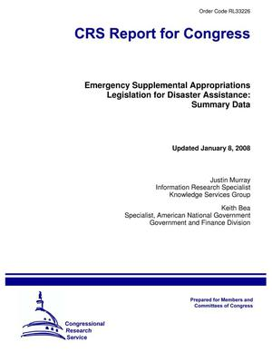 Primary view of object titled 'Emergency Supplemental Appropriations Legislation for Disaster Assistance: Summary Data'.