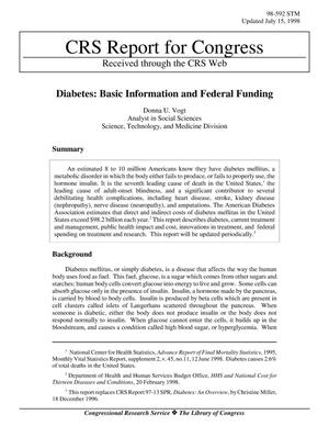 Primary view of object titled 'Diabetes: Basic Information and Federal Funding'.