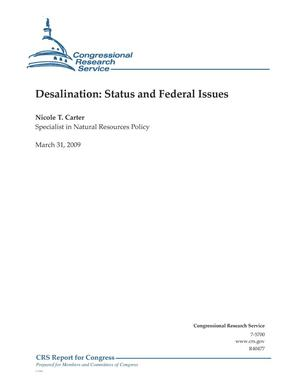 Primary view of object titled 'Desalination: Status and Federal Issues'.
