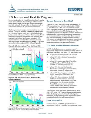 Primary view of object titled 'U.S. International Food Aid Programs'.