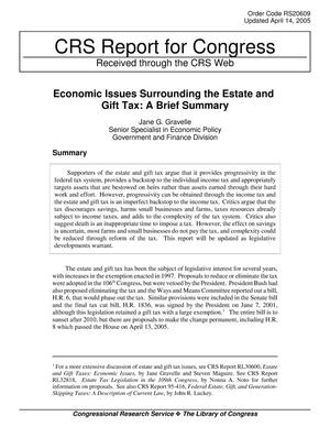 Primary view of object titled 'Economic Issues Surrounding the Estate and Gift Tax: A Brief Summary'.