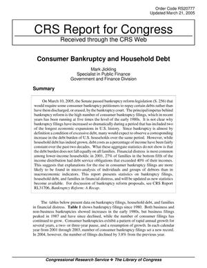 Primary view of object titled 'Consumer Bankruptcy and Household Debt'.
