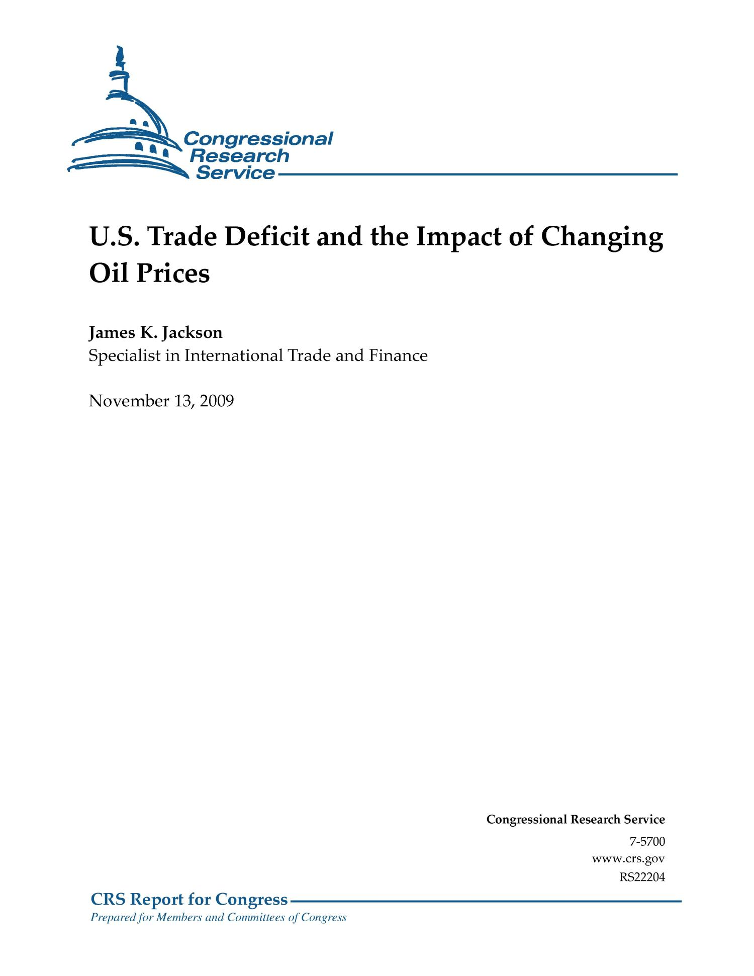 U.S. Trade Deficit and the Impact of Changing Oil Prices                                                                                                      [Sequence #]: 1 of 10