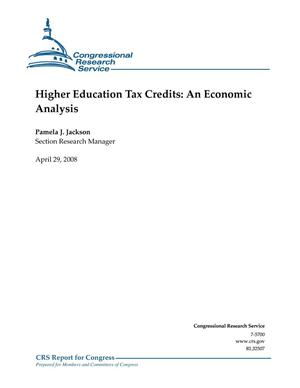 Primary view of object titled 'Higher Education Tax Credits: An Economic Analysis'.