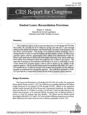 Primary view of object titled 'Student Loans: Reconciliation Provisions'.