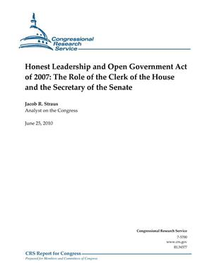 Primary view of object titled 'Honest Leadership and Open Government Act of 2007: The Role of the Clerk of the House and the Secretary of the Senate'.