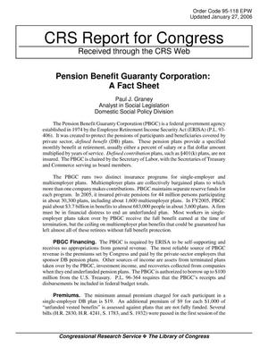 Primary view of object titled 'Pension Benefit Guaranty Corporation: A Fact Sheet'.