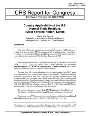 Primary view of object titled 'Country Applicability of the U.S. Normal Trade Relations (Most-Favored-Nation) Status'.