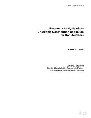 Primary view of object titled 'Economic Analysis of the Charitable Contribution Deduction for Non-Itemizers'.